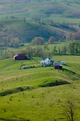 Farm fields and barns in Maryland