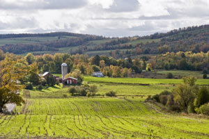 New England farm and fields in the fall